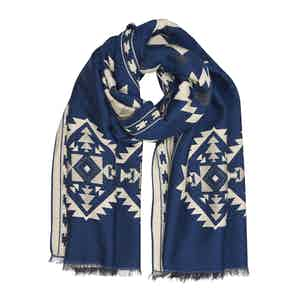 Blue and White Bold Pattern Large Scarf