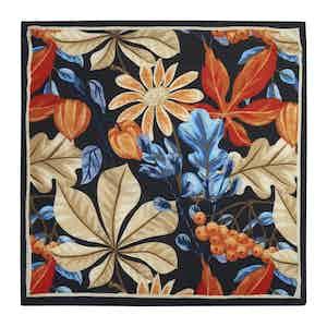 Black Wool Floral Pattern Pocket Square