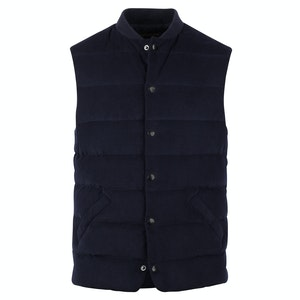 Navy Cotton Corduroy Quilted Baseball Vest