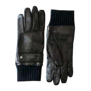 Black Karthala Full Grain Lambskin Driving Gloves