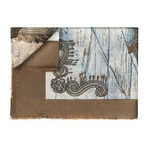 Camel & Blue Pure Cashmere Scarf