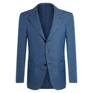 Blue Sky Linen Unstructured Single-Breasted Jacket