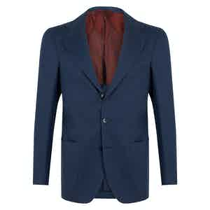 Blue Wool Unstructured Single-Breasted Jacket.