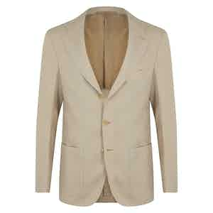 Beige Linen Unstructured Single-Breasted Jacket.