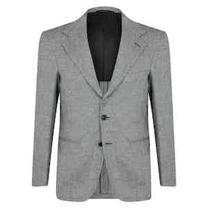 Grey Wool Partridge Eye Unstructured Single-Breasted Jacket
