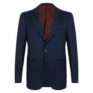 Blue Wool Partridge Eye Unstructured Single-breasted Jacket
