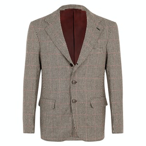 Beige Wool Checked Pied de poul Unstructured Single-breasted Jacket.
