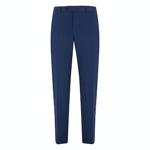 Blue Cotton Flat-Fronted Trousers