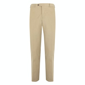 Beige Cotton Flat-Fronted Trousers