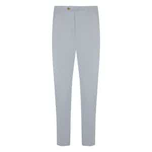 White Cotton Flat-Fronted Trousers
