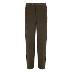 Khaki Fustagno Cotton Gabardine Trousers