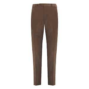 Tobacco Fustagno Cotton Gabardine Trousers