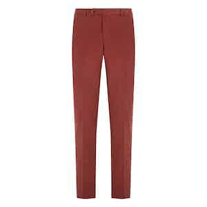 Red Cotton Fustagno Cotton Gabardine Trousers