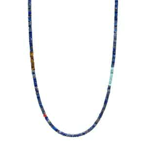 Blue Lapis Heishi Necklace with Tiger Eye and Turquoise