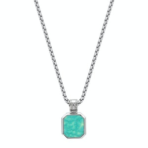 Silver Necklace with Square Turquoise Pendant