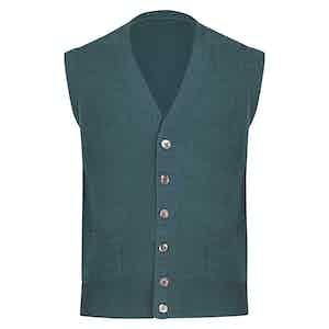 Green Cashmere Sleevless Cardigan