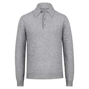 Grey Cashmere Long-Sleeved Polo Shirt