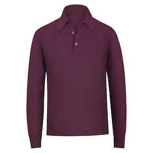 Burgundy Cashmere Long-Sleeved Polo Shirt