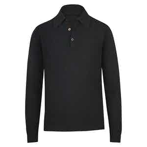 Black Cashmere Long-Sleeved Polo Shirt