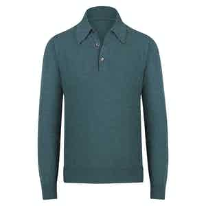 Green Cashmere Long-Sleeved Polo Shirt