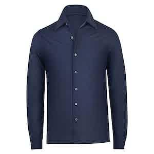 Navy Blue Wool Knit Shirt