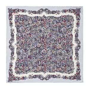 Blue Silk Scandinavian Paisley Print Pocket Square
