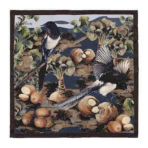 Brown Silk Magpies Print Pocket Square