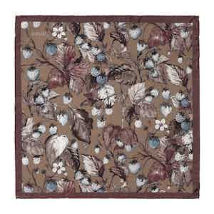 Brown Silk Strawberry Print Pocket Square