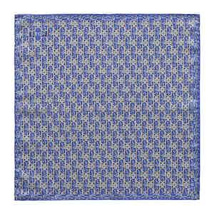 Blue Silk Floral Print Pocket Square