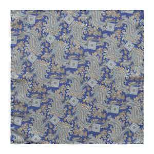 Blue Silk Paisley Print Silk Pocket Square