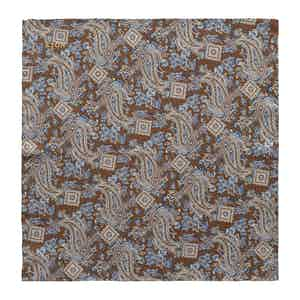 Dark Brown Silk Paisley Print Pocket Square
