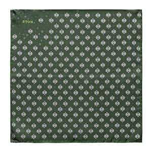 Dark Green Silk Medallion Print Pocket Square