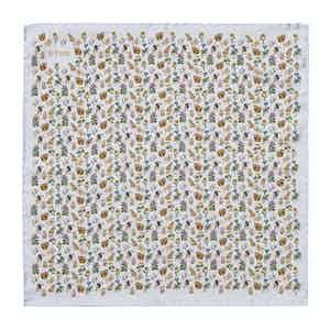 Light Blue Flora & Fauna Silk Print Pocket Square