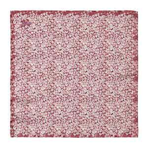 Red Silk Floral Print Pocket Square