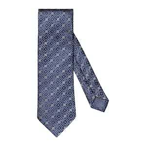 Mid Blue Silk Geometric Tie