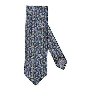 Dark Blue Silk Natura Scandinavia Print Tie