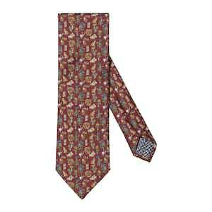 Dark Brown Silk Natura Scandinavia Print Tie