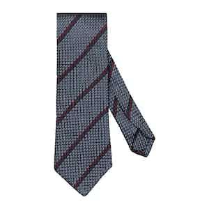 Blue & Brown Silk Striped Grenadine Tie