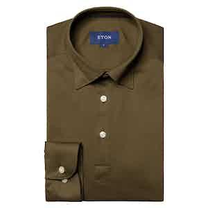 Khaki Green Cotton Long-Sleeved Polo Shirt