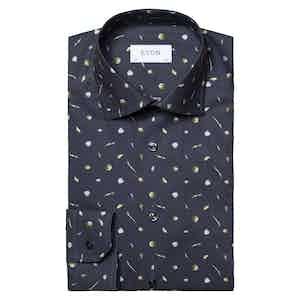Dark Blue Fine Twill Cotton Vegetables Print Shirt