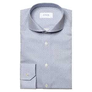 Blue Cotton Bird Print Signature Twill Shirt