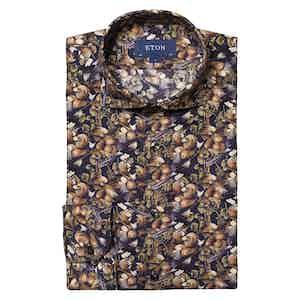 Dark Blue Cotton Tencel™️ Nature Print Shirt