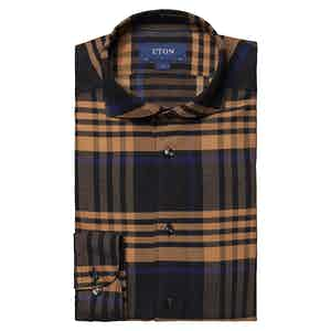 Brown Cotton Lyocell Flannel Bold Plaid Shirt