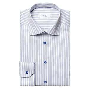 Light Blue Cotton Lyocell Striped Stretch Slim Fit Shirt