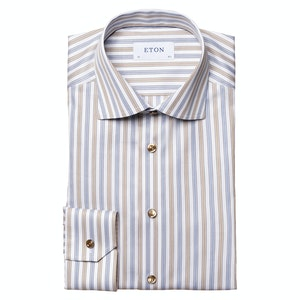 Light Brown and Blue Cotton Lyocell Striped Stretch Slim Fit Shirt