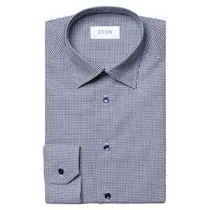 Navy Fine Cotton Twill Checked Shirt