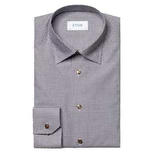 Brown and Grey Fine Cotton Twill Checked Shirt