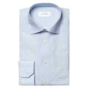 Light Blue Poplin Cotton Botanical Print Signature Shirt