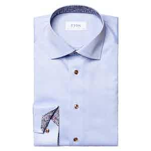 Light Blue Cotton Paisley Detail Signature Shirt
