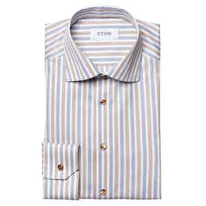 Brown Cotton Lyocell Striped Stretch Shirt